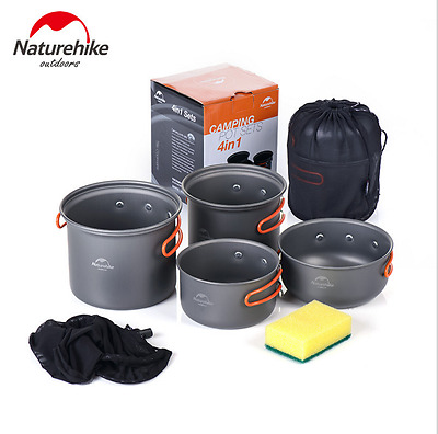 Outdoor Portable Cooking Nonstick Bowl Pots Cookware Set For Camping Hiking