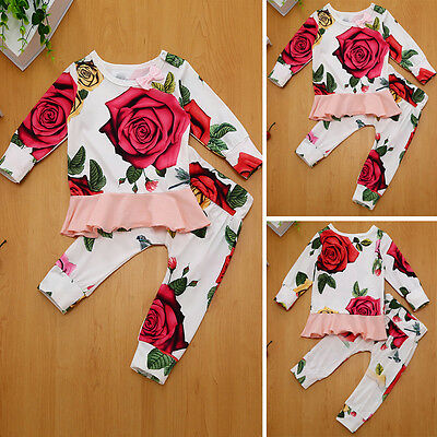 Flower Baby Girls Long Sleeve T-shirt + Pants Leggings Outfits 2PCS Clothes Set