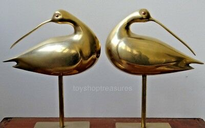 Pair  HollyWood Regency Mid Century Vintage Copper and Brass Birds - 26cm