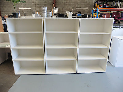 Office Bookcase White Timber 1600Mm High Brisbane