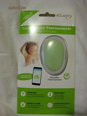 Quest Constant Read Thermometer-Trackin App-Wireless-Fever Alarm-Reuse-Hands Fre