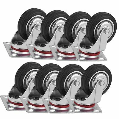 "Lot of 8 3"" Swivel Caster Polyurethane Wheels Base Top Plate Double Ball Bearing"