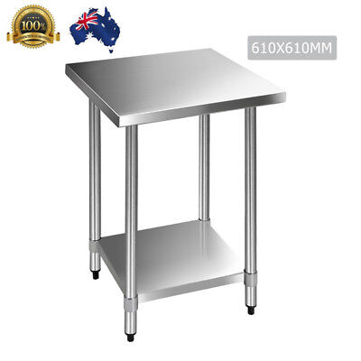 Stainless Steel Kitchen Work Bench Home Desk Prep Table 610x610x890mm