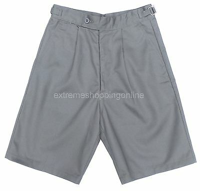 New Boys Teens School Shorts Grey Long Length Cotton Pleat Age 6-16 years