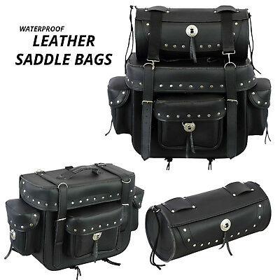 Motorcycle Leather Saddle Luggage Motorbike Bag with Tool Roll Box Touring