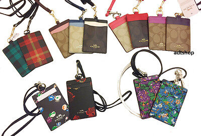 NWT Coach Lanyard ID Holder Signature Case Card Pass 63274 Floral Colorblock