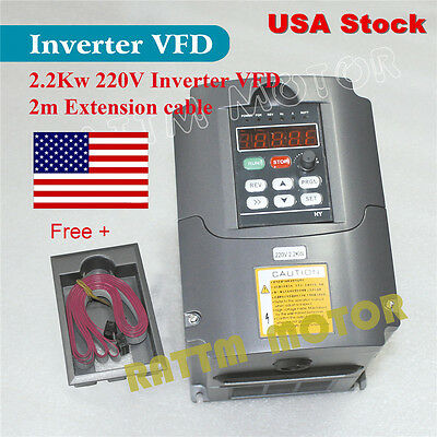 【USA Stock】 2.2KW 220V 3HP VFD Variable Frequency Drive Inverter for CNC Router