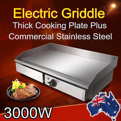 Commercial Electric Griddle Grill Stainless Steel Hot Plate BBQ Countertop 3000W