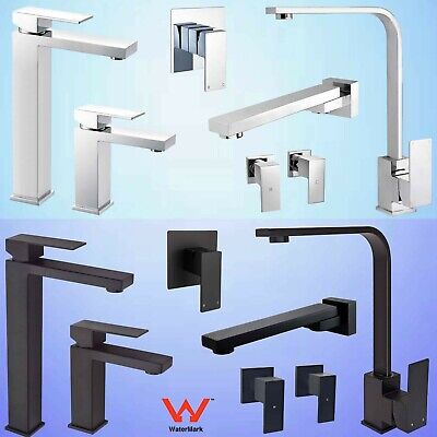 Black/Chrome Square Kitchen Laundry Shower Basin Mixer Sink Faucet Tap Spout