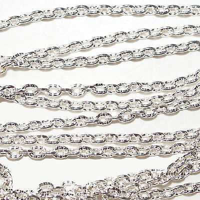 Chain 3x2mm Textured Cable Silver Plated x 2 Metres (1959)