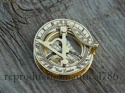 Nautical Solid Brass Marine Navigation Sundial Compass Collectible Vintage Gift