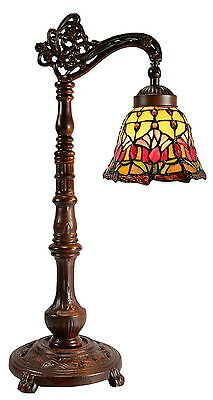 Traditional Colonial Tulip Style Tiffany Bridge arm Table Lamp