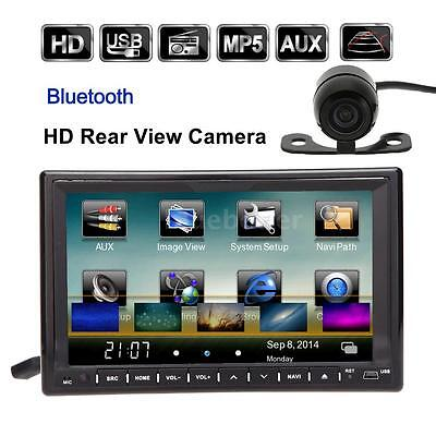 "Universale 7"" 2Din Auto lettore DVD/USB/SD Bluetooth GPS AM FM Radio Camera E1E4"