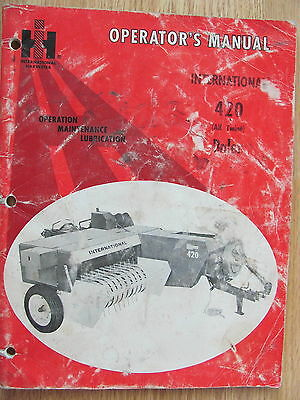 International Harvester Operator's Manual 420 Baler (All Twine) 1 084 995 R1 '72