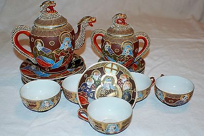 Geisha Satsuma Nippon Era Ornate Antique Moriage Dragon Tea Set Porcelain