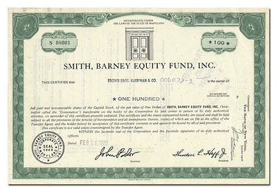 Smith, Barney Equity Fund, Inc. Stock Certificate