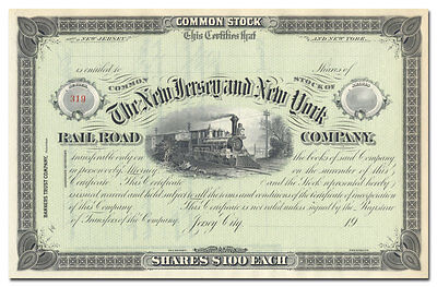 New Jersey and New York Rail Road Company Stock Certificate