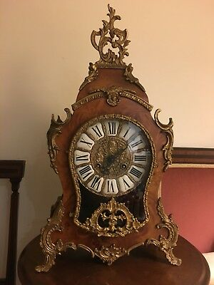 ANTIQUE FRENCH A BRASS-MOUNTED MOCK BOULLE MANTEL CLOCK 1890c