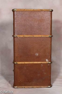 Vintage Luggage Steamer Trunk Suitcase With Bentwood Trim
