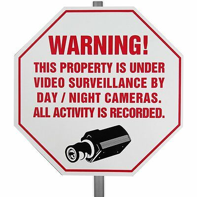 CCTV Plastic Weather Resistant Surveillance Security Warning Yard Sign w/ Stake
