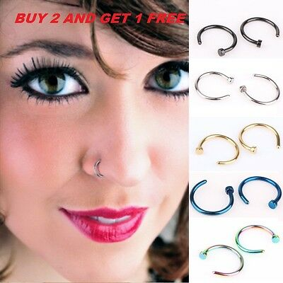 316L 8mm Small Thin Surgical Steel Open Nose Ring Hoop Piercing Stud