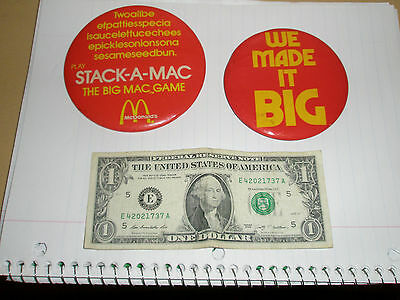 Two Vintage 1970's Big Mac by McDonalds promo POS pinback buttons