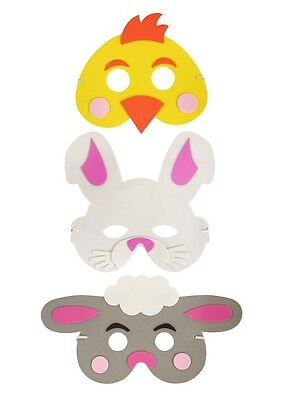 Easter Animal Foam Eva Face Masks - Chicks Lambs Bunnies Great Fun for Children