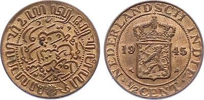 COIN Netherlands East Indies 1/2 Cent 1945 KM# 314