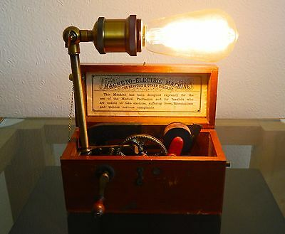 Vintage Steampunk Lamp Upcycled Victorian Magneto Electric Shock Machine