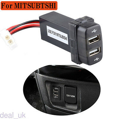 Black Car Dual USB Dashboard Phone Charger Adapter 12V Input 2.1A For Mitsubishi