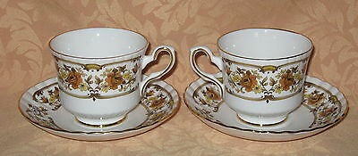 2 x UNUSED Royal Stafford Clovelly English Fine Bone China Tea Cups & Saucers