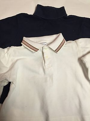 Size 2T Navy Turtleneck And Collar Shirt Long Sleeves Pre Owned