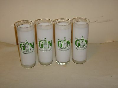 Vintage Seagrams Gin Highboy Glasses-Rare-Set Of 4-No Damage