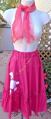 "Happy Day 50s Style Hot Pink Full Ruffled Skirt w/Wht Poodle,Silk Scarf 22""-44""w"