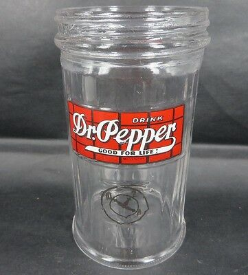 RaRe Dr Pepper Glass Sugar Dispenser decal paint label 1940 SODA advertising WOW