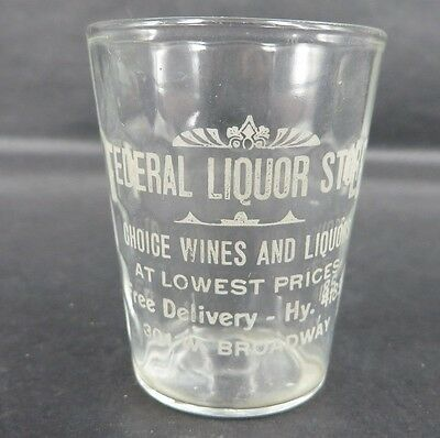FEDERAL LIQUOR STORE SHOT GLASS PHONE HY 4185 Minneapolis MN Etched Scalloped !
