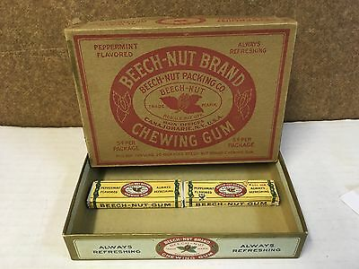 1940's Beech Nut Peppermint Gum Counter Top Display Box  With 2 Packs Of Gum