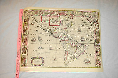 Vintage 17th Cen. Map of North and South America by Willem Bleau Penn Prints NY