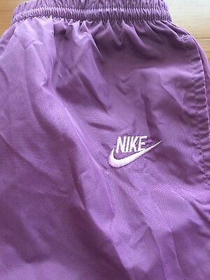 VTG 1980s Nike Purple Track Pants Women's M (7-9) Nylon Made in Japan Blue Tag