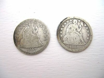 Vintage Coin Lot, 1857, 1859,  SILVER SEATED LIBERTY DIMES