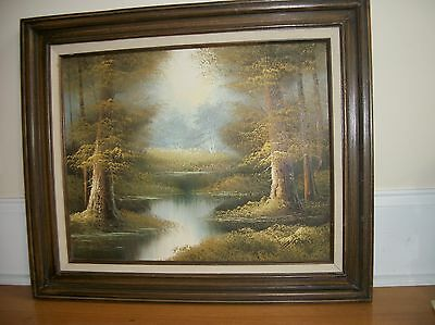 Vintage  Painting  Oil on canvas  Landscape  Framed  signed HARRIS  with COA