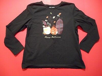 Women's Holiday Editions Black Long Sleeve Halloween T Shirt Size XL
