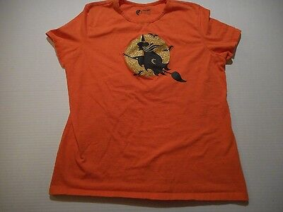 Women's Holiday Editions Orange Witch Halloween Short Sleeve T Shirt Size XL