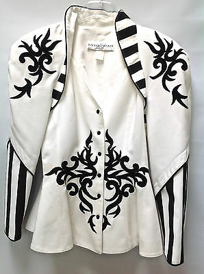 Vintage 80's LILLIE RUBIN Womens Jacket Size 4 White with Black Scroll Appliques