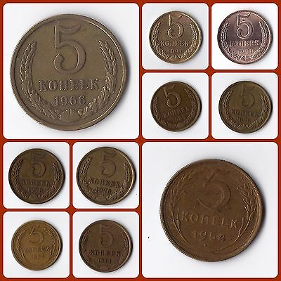Soviet Union 5 Kopek Kopeks Coins Different Years Available Y# 129a Y# 115