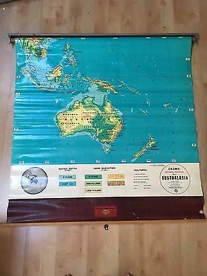 Vintage Map Of Australia Spring Pull Down Cram's School Wall Map