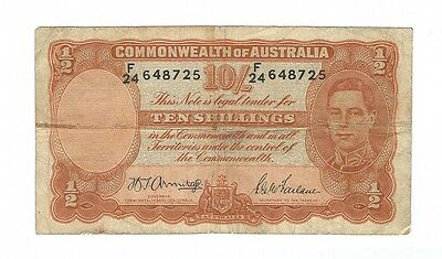 Australia -  Ten (10) Shillings 1942  !!First Prefix!!
