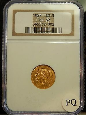 1927 $2 1/2 Indian Head Gold Piece - NGC Graded MS62 !!