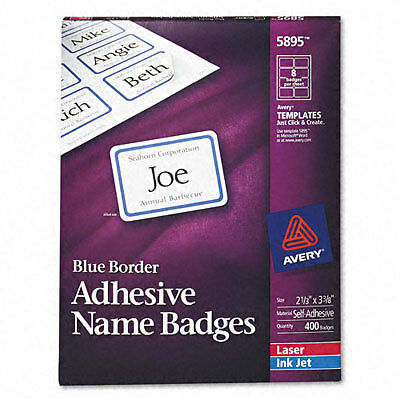 "Avery 5895 Name Badge Label 400 ct Blue Border - 2 1/3"" X 3 3/8"" NEW"