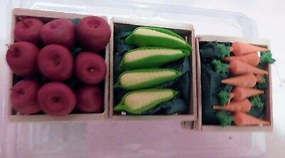 3 Crates of Vegetables for Model Horses Railroad Fairy Garden Doll House New
